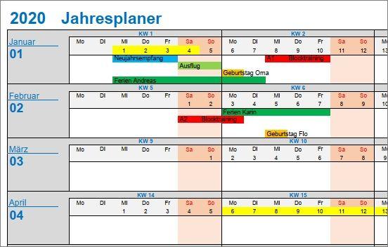 Jahresplaner für Excel