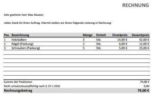 Rechnungsvorlage für Excel