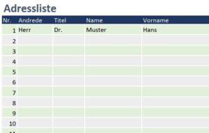 Adressliste für Excel - Adressen übersichtlich geführt