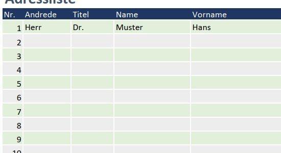 Adressliste für Excel – Adressen übersichtlich geführt