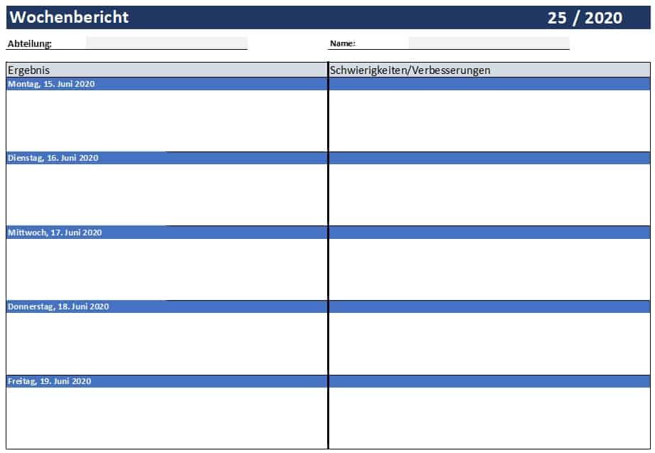 Wochenbericht Vorlage Kostenlos Vorlagen