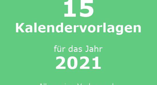15 kostenlose Kalender Vorlagen für 2021