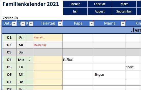 15 kostenlose Kalendervorlagen für 2021 - Familienkalender