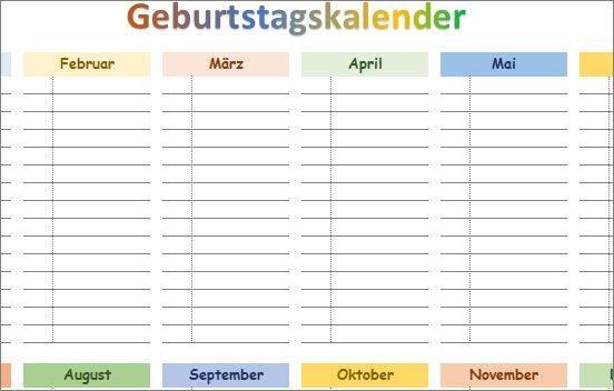 15 kostenlose Kalendervorlagen für 2021 - Geburttagskalender