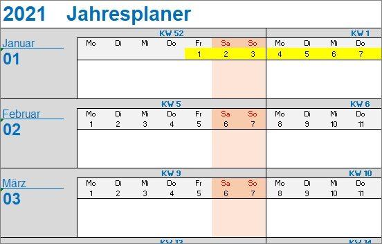 15 kostenlose Kalendervorlagen für 2021 - Jahresplaner