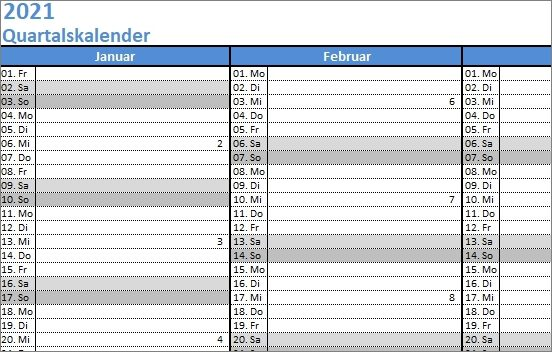 15 kostenlose Kalendervorlagen für 2021 - Quartalskalender