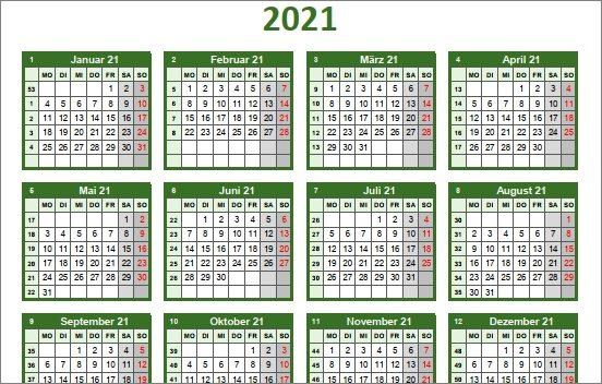 15 kostenlose Kalendervorlagen für 2021 - bunter Jahreskalender