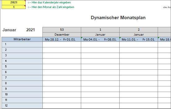 15 kostenlose Kalendervorlagen für 2021 - dynamischer Monatsplaner