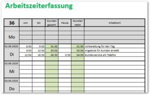 Arbeitszeiterfassung mit Excel
