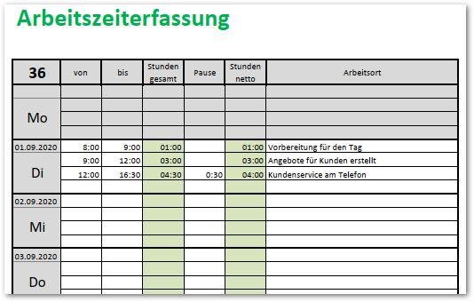 Arbeitszeiterfassung Mit Excel Alle Meine Vorlagen De
