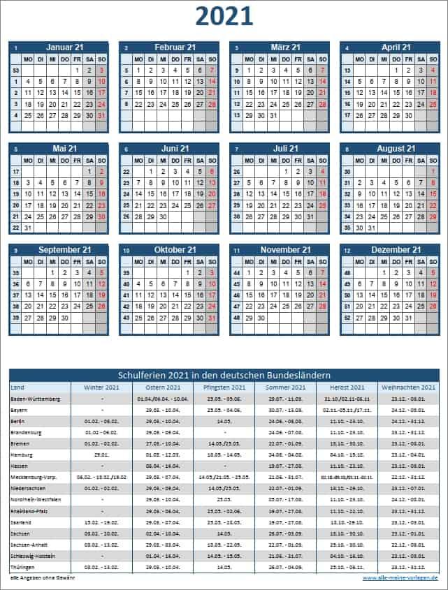 Schulferien 2021 für alle Bundesländer mit Jahreskalender ...