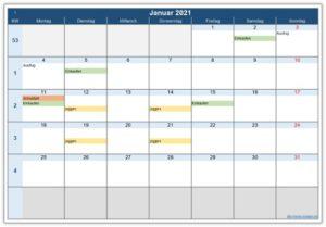 Monatskalender – eine Vorlage zum Ausdrucken