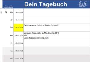 Tagebuch für Excel