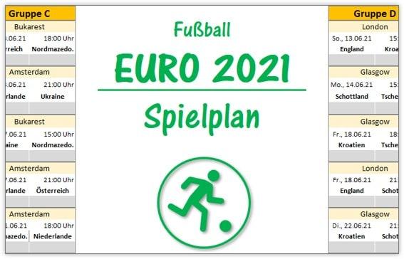 EM 2021: Spielplan für Excel