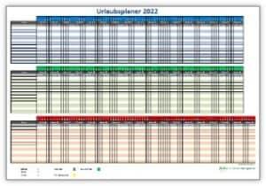 Urlaubsplaner 2022 für Excel in bunter Ausführung