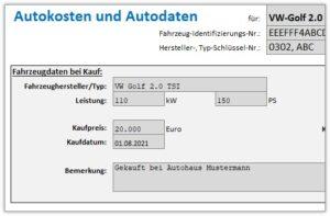 Autokosten und Autodaten