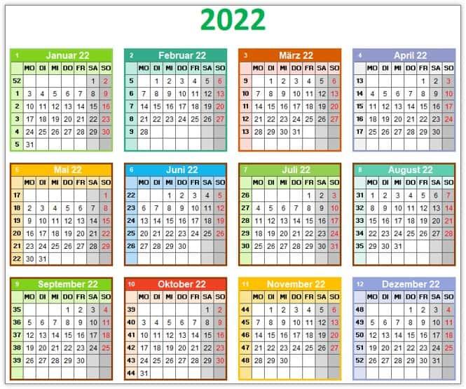 Bunter Jahreskalender 2022