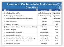 Haus und Garten winterfest machen – Checkliste für Excel